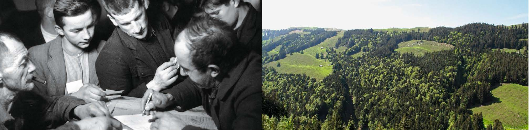 Verlosung des Holznutzens (Sigriswil 1946, Ernst Brunner, Archiv für Volkskunde, Basel)
