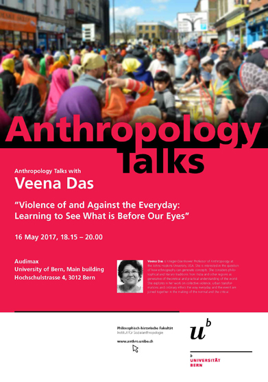 Plakat for Anthropology Talks 2017 with Veena Das